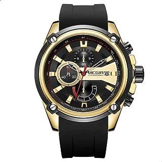 Megir MN2086GGDBK-1N3 Silicone Round Analog Watch for Men - Black and Gold
