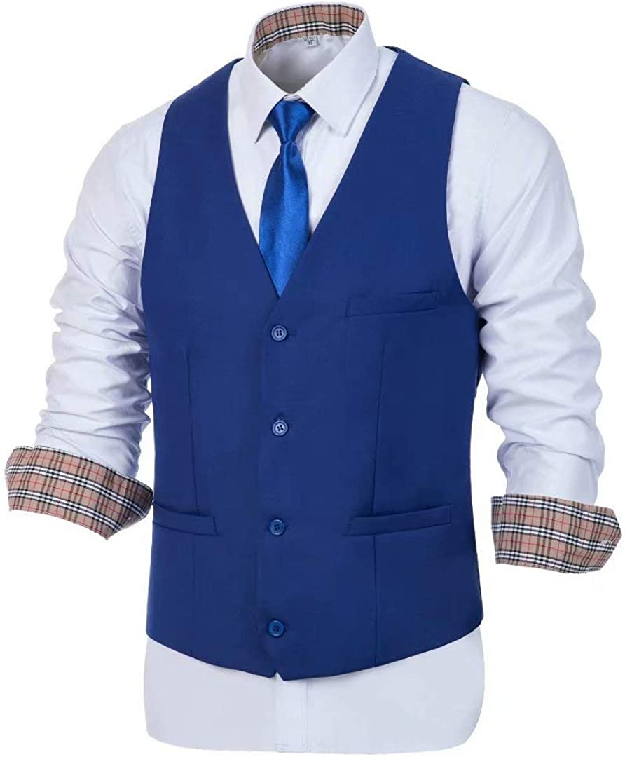 Wehilion Men's Suit Vest Business Waistcoat Formal Dress Vest for Men with 4 Button Slim Fit