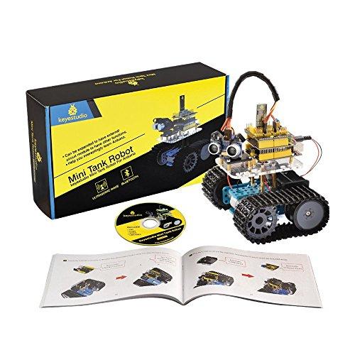 KEYESTUDIO Kit Robot Mini Tank con Evitare di ostacolo a ultrasuoni, Scheda R3, Modulo Bluetooth...