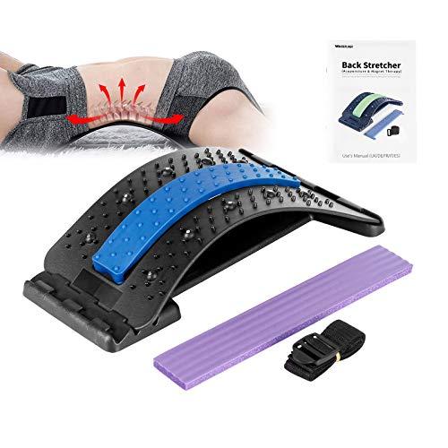 Wskderliner Rückendehner Back Stretcher Rückenmassage 4 Einstellbare Traktionsstufen Rückenstrecker für Verbesserung der Traktion und Haltung mit Akupunktur und Magnetfeldtherapie, Schwarz