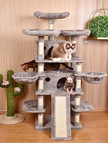 Amolife Heavy Duty 68 Inch Multi-Level Cat Tree, King/X-Large Size Cat Tower,Cat condo with...