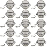 TIHOOD 15PCS Tea Strainer Stainless Steel Mesh Tea Ball Infuser Premium Tea Filter Tea Interval Diffuser with Extended Chain Hook for Loose Leaf Tea and Spices & Seasonings
