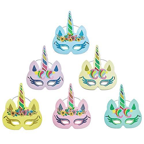 thematys Einhorn Masken Maske 6er Set - perfekt für Geburtstag, Karneval & Fasching - Kostüm für Kinder und Erwachsene - Einheitsgröße