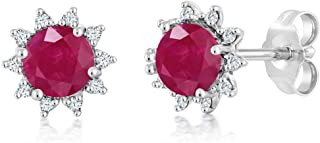 Gem Stone King 18K White Gold Diamond Stud Earrings Round 4mm Red Ruby 0.60 Ct