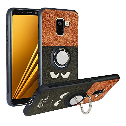 Coque Samsung Galaxy A8 2018, [Fashion Pattern] Étui TPU, Coque De Protection Antichoc, Anti Rayure Cover avec Bague Support Compatible avec Galaxy A5 2018 /A530 2018,Do Not Touch