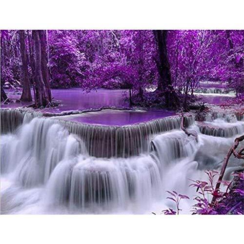 DIY 5D Diamant Gemälde Kit,DIY 5D Diamant Painting Full Diamond Purple Waterfall Stickerei Strass Kreuzstich Kunst Craft Supply für Home Wall Decor 30x40cm ,Malen nach Zahlen
