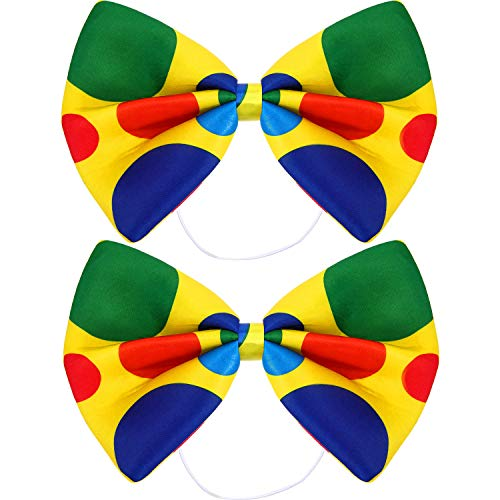 SATINIOR 2 Packs Jumbo Clown Bowtie Circus Polka Dot Oversized Bow Tie for Christmas Carnival Circus Costume Fancy Dress Bow Tie Jumbo Polka Dot