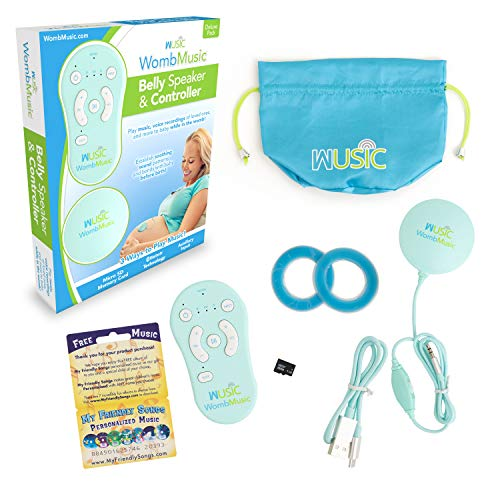 Womb Music Deluxe Baby-Bump Headphones [with Bluetooth Controller] Prenatal Belly - Play Music, Sounds & Voices to Baby with a Wusic Pregnancy Speaker &...