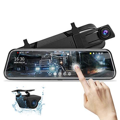 10 '' Spiegel Dashcam, 1080P rückspiegel dashcam Spiegel FHD Nachtsicht Voll-Touchscreen Vorder- und Rückansicht Rückfahrkamera für Autos Loop-Aufnahme Streaming-Medien 170 ° mit 10-Meter-Kabel