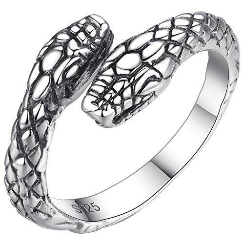 siqiwl Anillo abierto de plata de ley 925 vintage doble cabeza de serpiente tailandesa de plata de ley anillos de dedo joyería unisex abierto tamaño ajustable anillo hombre