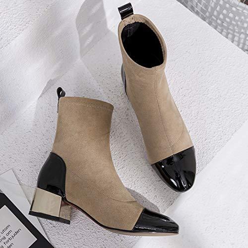 Shukun enkellaarsjes Booties Vrouwen lente en herfst persoonlijkheid dik met hoge hak Martin laarzen vrouwelijke kant dunne afzonderlijke laarzen