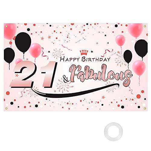 HAKOTOM Happy 21th Birthday, Decoración Fiesta 21 Años, Telón de Fondo Cumpleaños, Feliz Cumpleaños 21 para Decorar Pared Jardín Hogar Restaurante Regalo Adorno Ornamento Chicas Rosa Oro 115cm* 180cm