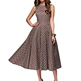 Simple Flavor Women's Vintage Dress Sleeveless O-Neck Party Cocktail Dress (Brown, S)