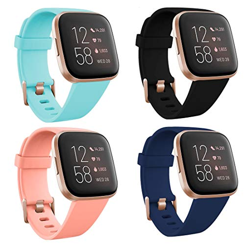 TECKMICO 4-Pack Bands Compatible with Versa 2,Sport Bands Replacement for Versa/Versa 2/Versa Lite with Rose Gold Watch Buckle for Women(Black/Navy Blue/Teal/Peach, Large)