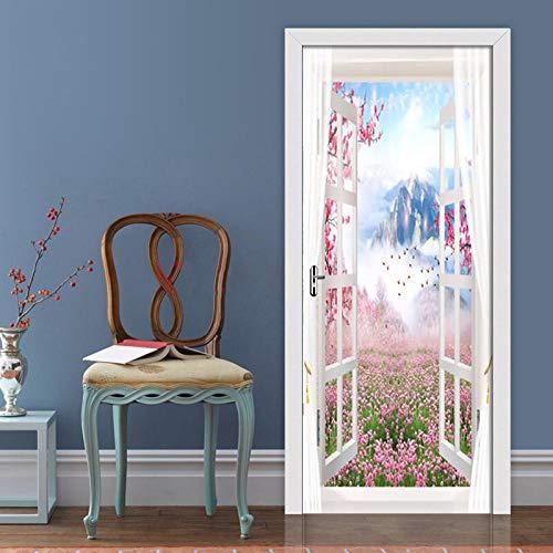 DIOPN 3D muur deur Sticker Scenery Buiten Raam Behang Woonkamer Slaapkamer Home Decor Plakken PVC Zelfklevende Waterdichte 3D Mural(77 * 200CM)
