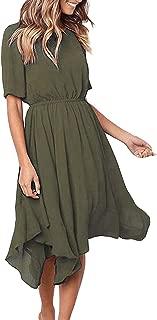 Women's Chiffon Short Sleeve Casual Midi Dress Empire Waist Irregular Hem Summer Dress