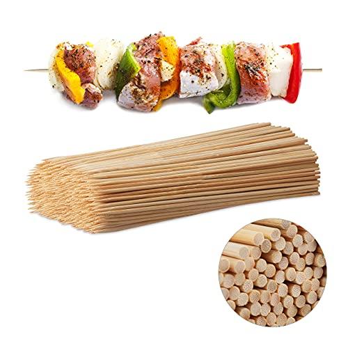 Relaxdays Juego de 500 Brochetas Barbacoa, Bambú, Marrón, 30 cm x 4 mm