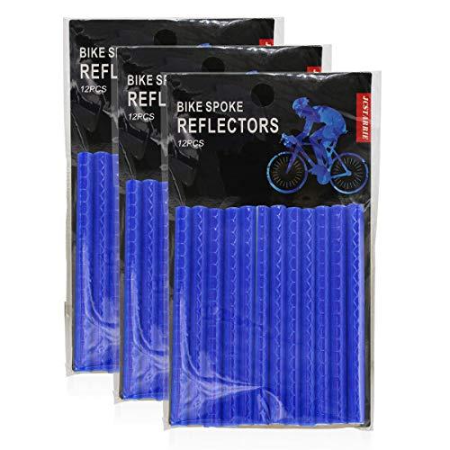 Jcstarrie Reflector de radios de bicicleta MTB con tubo de clip para niños y adultos, fácil montaje 36 unidades