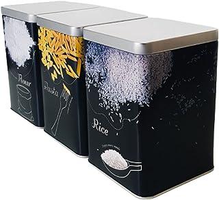 ALEMOK Lot de 3 boîtes de rangement de cuisine en métal avec couvercle pour ranger le riz, la pâte, la farine