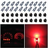 WLJH 74 Led Bulb Dash Lights Dimmable T5 2721 37 85 286 Wedge PC74 Twist Socket Automotive Instrument Panel Gauge Light Kits Cluster Shift Indicator Interior Bulbs Red Pack of 20