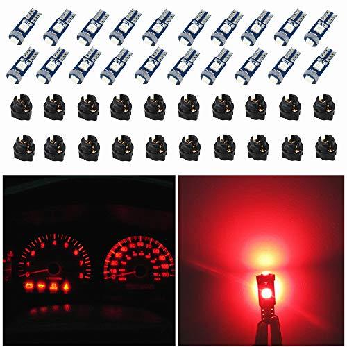 WLJH 74 luces LED de tablero regulables T5 2721 37 85 286 cuña PC74 torcido zócalo de instrumentos automotrices kit de luces indicador cambio racimo interiores bombillas rojas paquete de 20