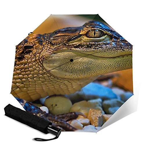 Crocodile,Auto-Opening Travel Umbrella, Compact, Foldable, Sun & Rain Protection, Windproof, Portable Umbrella for Kids, Women, Men