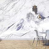 Benutzerdefinierte großformatige Wandtapete 3D abstrakte hochwertige Marmor Fee Kran Pavillon Elch TV Hintergrund Wandbild Tapete Blume