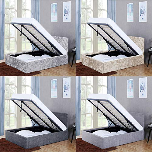 Vida Designs Veronica King Size Ottoman Bed, 5 ft Bed Frame Storage Lift Upholstered Fabric Headboard Bedroom Furniture, Dark Grey Linen