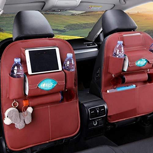 ZHANGYY 1PC PU Leather Car Seat Back Storage Hang Bag Multi-functional IPad Mini Holder Universal Back Seat Organizer for Kids Storage,wine red
