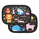 IntiPal Car Sun Shades - Window Sunshade for Car with Maximum UV Rays Protection for Your Baby (Pack of 2, 18.7' 12.6', Black with Cartoon Pattern)