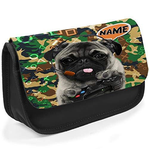 Personalised School Pencil Case Pug Gamer CAMO Stationary Bag Boys Girls (Black)