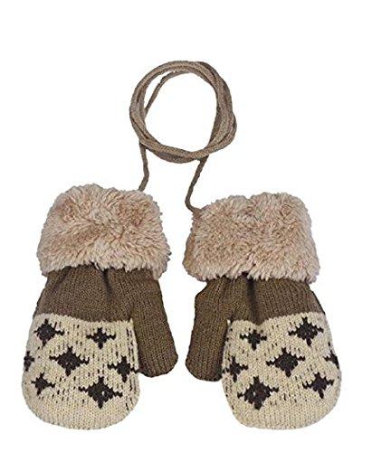 Gants bébé Auxma Pour 0-3 ans Bébé Warm Gloves Kids Garçons Filles Toddler Gants Tricotés Gants Feuille (Beige)