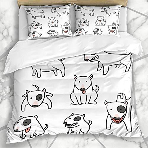 Soefipok Bettbezug-Sets Bleistift Hund Bullterrier Charakter Comic Skizze Gekritzel Niedliche Linie Design Sprung Mikrofaser Bettwäsche mit 2 Kissenbezügen