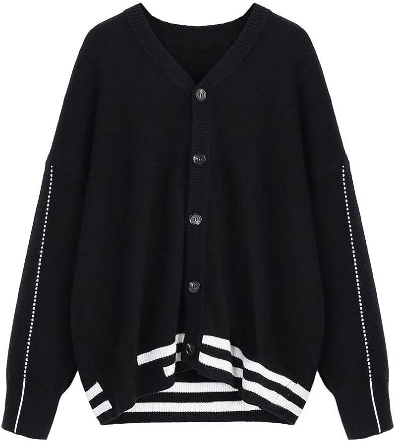UXZDX CUJUX Men Cardigan Autumn Striped Mens Outwear Male Tops Sweaters Baggy Casual Preppy Korean (Color : Black, Size : Asian Size L)