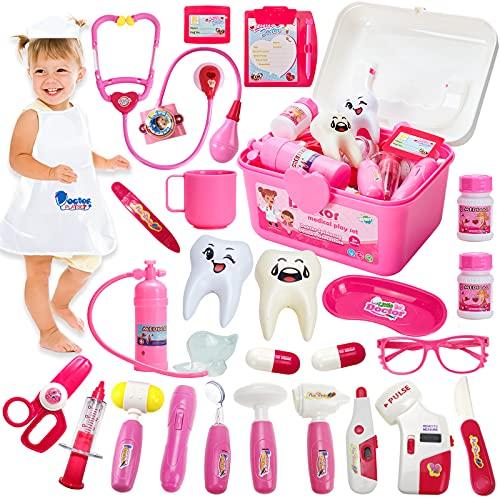 HERSITY Kit Dottoressa Bambina Valigia Dottore Giocattolo Set Medico Accessori Stetoscopio Giochi di Imitazione Regalo per Bambini Bimba 3 4 5 Anni
