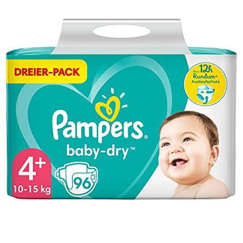 Pampers Windeln Größe 4+ (10-15kg) Baby Dry, 96 Stück, Bis Zu 12Stunden Rundum-Auslaufschutz