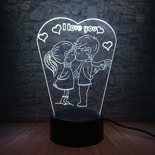 ShiyueNB Romantisch ik hou van je 3D LED-lamp RGB Linghting slaapkamer nachtlampje jongen kus meisje lief decoratie vriendin liefhebbers