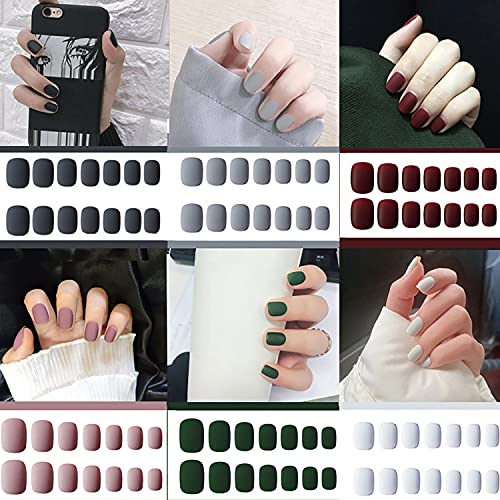 6 Packs (144 Pcs) Matte Short Press on Nails, Acrylic Short False Nails Full Cover Set Artificial Nails Fake Solid Color with Glue Nail File for Women
