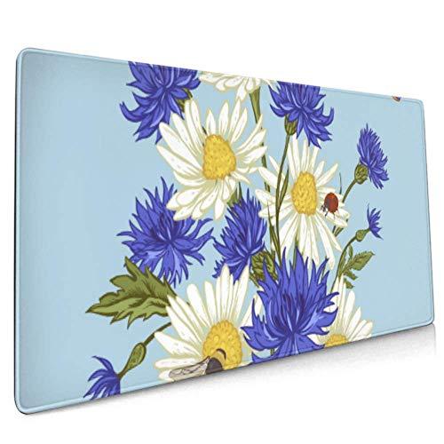 Langes Mousepad (35,5 x 15,8 Zoll) Sommer Vintage Blumenstrauß Grußkarte Schreibtisch Pad Tastaturmatte, rutschfeste Basis, wasserdicht, für Arbeit & Spiele, Aus