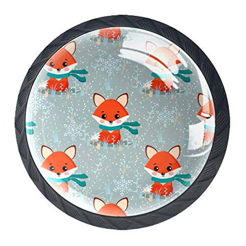 Drawer Handles Pull Round Crystal Glass for Home Kitchen Dresser Wardrobe Vector Seamless Winter Pattern with Cute Fox with Scarf Plants Snowflakes Ornament On Snow