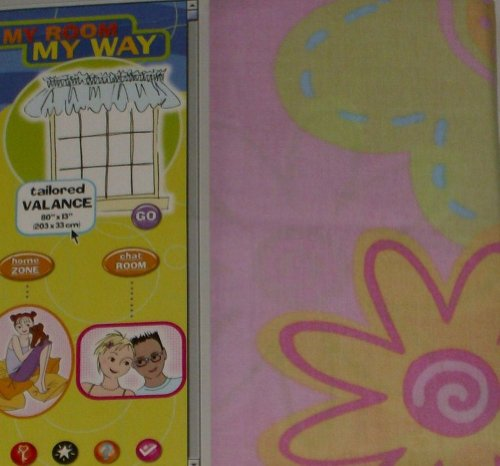 My Room My Way Popsicle Floral Window Valance Pink Flowers Curtain Topper