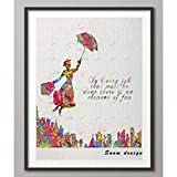 YCOLLC Wanddekoration Malerei Aquarell Mary Poppins Zitat
