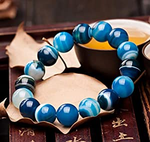 Deykhang Reichtum Armband Natürliche Dzi Korn Spitze-Achat-Aqua-Blau Feng Shui Ornament Talisman Chakra Edelstein für Frauen Stretch-Armband,12mm
