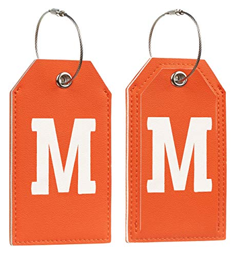 Initial Letter Luggage Tag 2 Pack with Full Privacy Cover and Travel Bag Tag Orange by Toughergun (M)