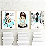 Carteles e impresiones de estrellas famosas Audrey Hepburn Bubble Gum Paris Fashion Wall Art Poster Modern Art Wall Pictures Mujer Decoración para el hogar / 50X70cm3pcs-Sin marco