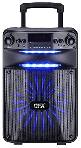 """QFX PBX-115 15"""" Rechargeable Smart App Controlled Portable Party Speaker with Wired Microphone"""