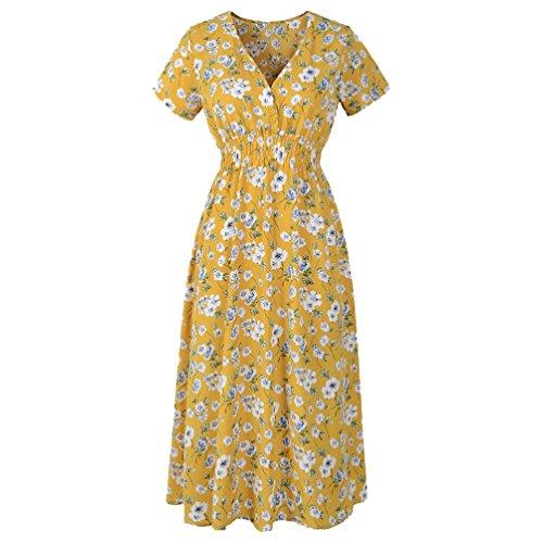VEMOW Sommer Elegant Damen V-Ausschnitt Urlaub Blumendruck Kleid Casual Täglichen Urlaub Business Arbeit Beach Party Dress(Gelb, 36 DE/S CN)