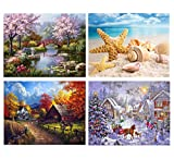 SanerDirect 4 Pack 4 Seasons Diamond Painting, Landscape Full Drill Paint with Diamonds 12x16 inch