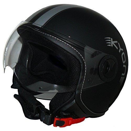 protectWEAR Jethelm H730-L matt-schwarz mit Silberstreifen im Pilotendesign
