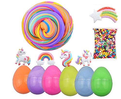 6 Pack Fluffy Slime Eggs, Easter Basket Stuffers, Unicorn Butter Slime Stretchy Non-Sticky Cotton Slime, Stress Relief Toy Kids